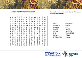 wordsearch about Anglo-Saxon clothes