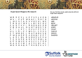 wordsearch about anglo-saxon weapons