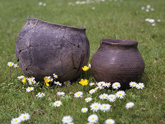 two grey pots sitting on grass surrounded by daisies