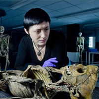 presenter looking at skeleton on History Cold Case