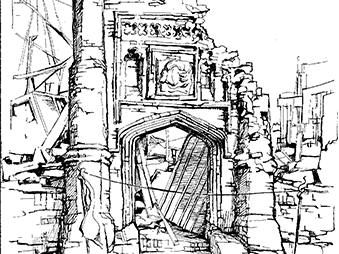 illustration of ruined church, from front cover of Scole Committee publication