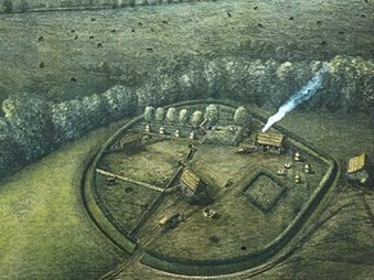 reconstruction illustration of saxon enclosed settlement