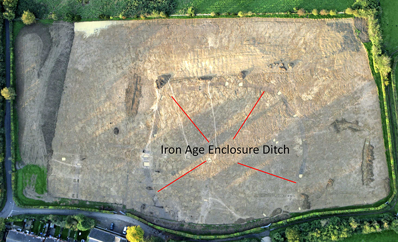 aerial photo of excavation site showing Iron Age enclosure