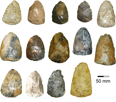 multiple different Late Middle Palaeolithic Handaxes