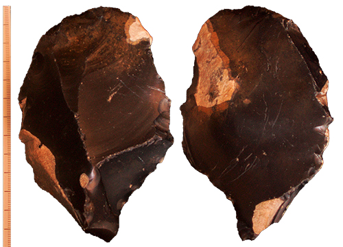 Middle Palaeolithic Levallois core, knapped from very high quality dark black flint