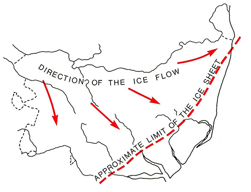 map of extent of Anglian Ice sheet over Suffolk with limit NE to SW from Lowestoft to Colchester