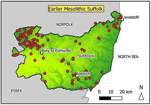 Map of Suffolk with findspots in the Breckland/Fen edge