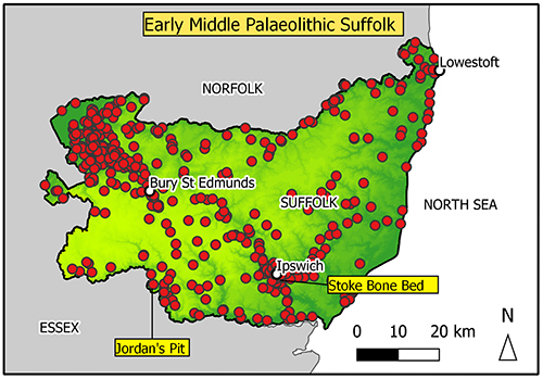 map of Suffolk with a concentration of findspots in the Breckland/fen edge area and Gipping Valley.