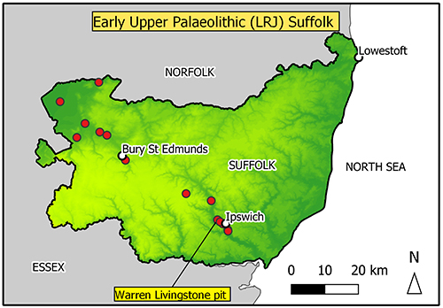 map of Suffolk findspots in the Breckland/fen edge area and in the Gipping Valley
