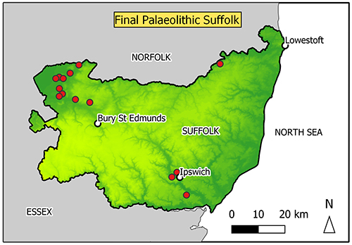 map of Suffolk with findspots in Breckland/fen edge area and Ipswich, one near Bungay.