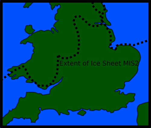 Map of present day Britain indicating the limit of the Devensian Ice Sheet