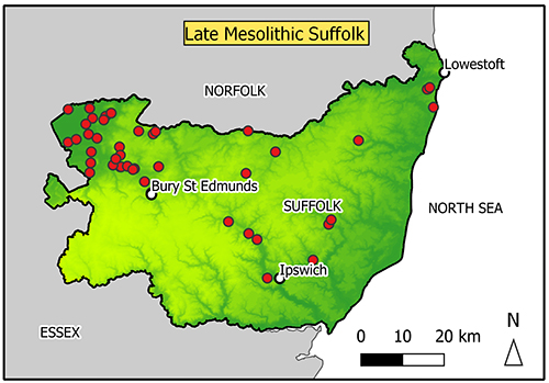 Map of Suffolk with findspots in Breckland/Fen edge, no find spots on higher plateau in southwest