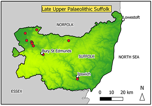 map of Suffolk with concentration of findspots in the Breckland/fen edge area.
