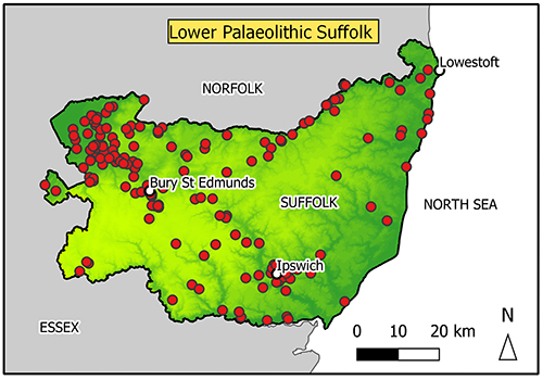 Map of Suffolk with findspots marked. There is a concentration in the North West.