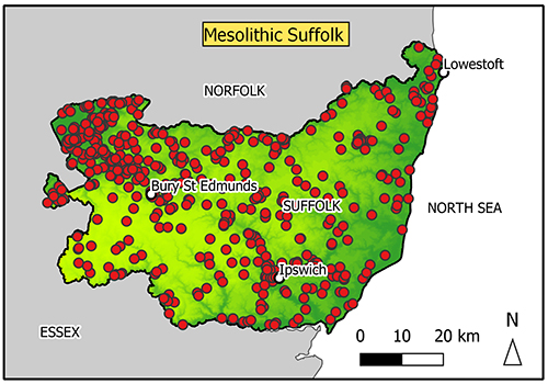 map of Suffolk mostly completely covered with findspots.