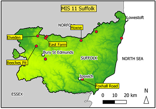 Map of Suffolk with findspots marked. Sites are concentrated in the north of the county.