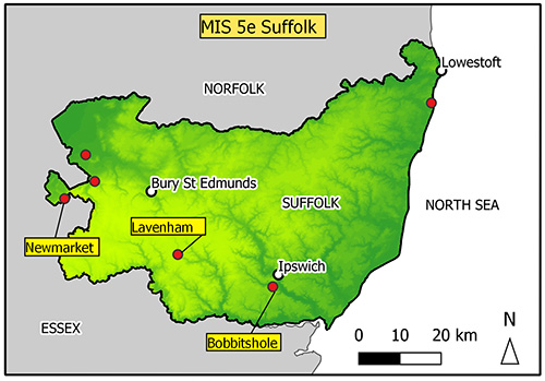 Image shows map of Suffolk with six points marked.