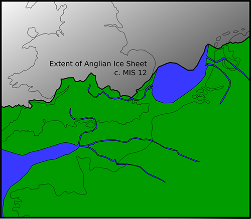 map of Northwest Europe showing extent of Anglian ice sheet MIS 12 from Rhine to the Bristol Channel