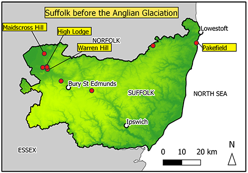 The image shows a map of Suffolk with 8 points marked. Mostly in the north of the county.