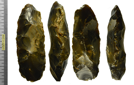 image shows multiple sides of a flaked flint axehead