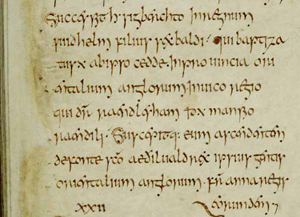 extract of manuscript written by Bede in 8th century