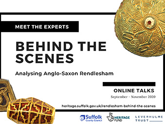 flyer for Behind the Scenes online talks with some gold objects