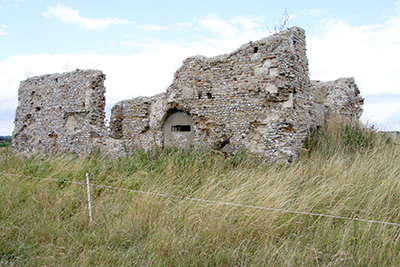ruins of medieval chapel with WWII pillbox