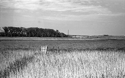 photo of Minsmere marshes c.1949 with Dunwich Radar Station in the background